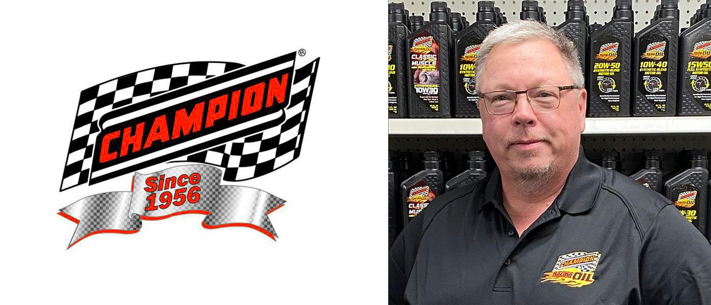 Champion Brands logo, headshot of Scott Baubie in front of Chamipn Oil display of products