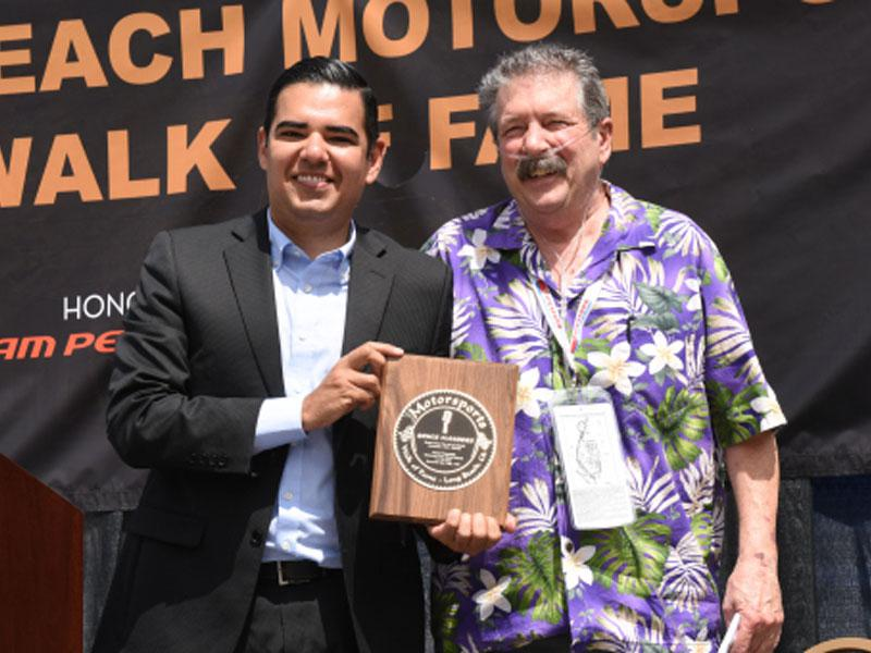 Long Beach Mayor Robert Garcia, left, and Bruce Flanders, right, in 2016. Photo by Andy Witherspoon, courtesy of The Press Telegram