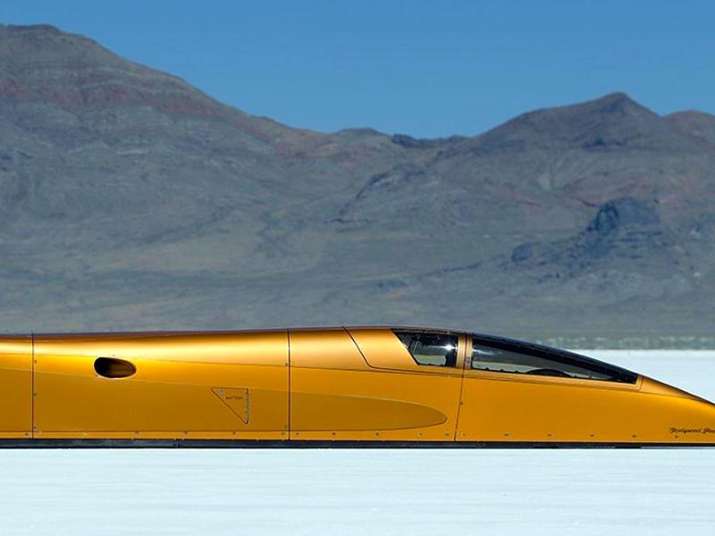 Speed Demon 715 piston-powered landspeed vehicle at Bonneville Salt Flats