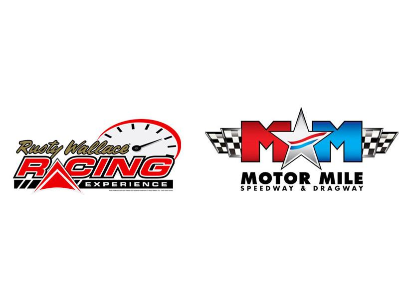 Motor Mile Speedway & Dragway logo and the Rusty Wallace Racing Experience (RWRE) logo