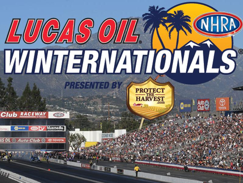 Lucas Oil Winternationals presented by ProtectTheHarvest.com logo in foreground, Auto Club Speedway at Pomona in background