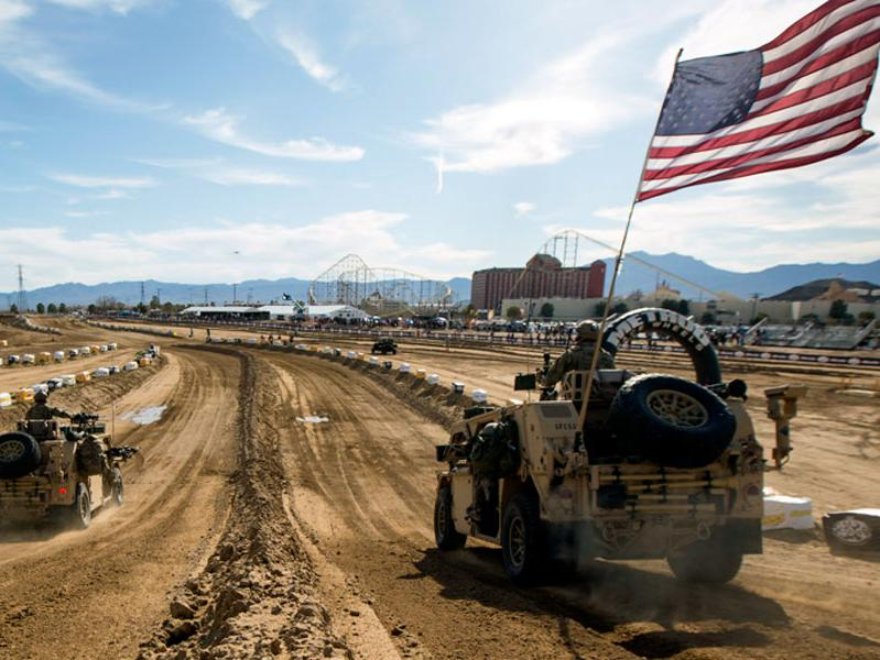 Mint 400 Military Challenge, two military vehicles on track